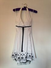 Beautiful White 'Vestry' Dress With Black Embellishment Size 8