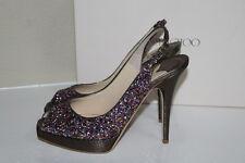 New 8 / 38 Jimmy Choo Clue Multi Color Glitter Slingback Platform Sandal Shoes