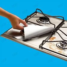 4x Gas Hob Protector Liners Reusable Non-Stick Silicone Dishwasher Safe - Silver