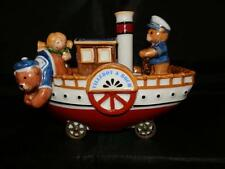 CUTE RARE VILLEROY BOCH CHRISTMAS BEARS CERAMIC BOAT ON WHEELS CANDLE HOLDER