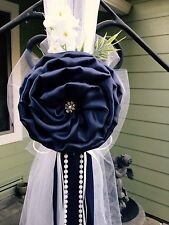 Set of 10 Navy Blue Pew Bows, Chair Bow, White Wedding Church Aisle decorations