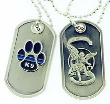 Thin Blue Line K-9 Paw St. Michael Brushed Steel Dog Tag