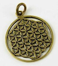 "**BRONZE ""FLOWER OF LIFE"" PENDANT & WAXED CORD NECKLACE**"