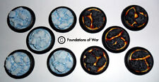 Foundations of War, 30mm UNPAINTED, New Style, ROUND resin bases - Ice/Lava 10x