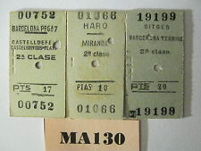 Spain Railway Tickets x 3 Ref MA130