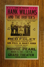 Hank Williams and the drifters Tour Posters 1952 Minnie Pearl Les Paul