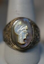 Vintage Sterling Silver 975 Cameo Mens Ring Size 10 1/2