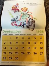 VINTAGE DICK AND JANE CALENDAR 1958-59 WITH ORIGINAL ENVELOPE UNUSED RARE SCHOOL