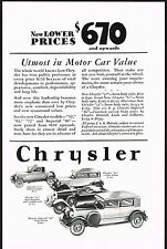 1928 Old Vintage Chrysler Model Prices Car Co Automobile Art Print Ad