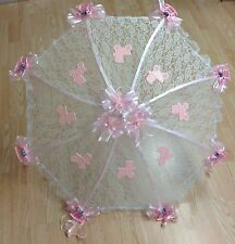 """32"""" White Lace baby shower umbrella PINK rocking horses, rattles and buggies"""