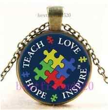 Vintage Autism Awareness Cabochon Glass Bronze Chain Pendant Necklace