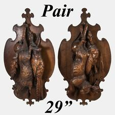 """Antique Black Forest 28"""" Fruits of the Hunt Wall Plaque PAIR: Fox, Hare, Birds"""