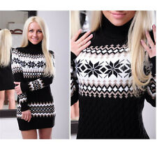 Women Winter Long Sleeve Slim Sweater Jumper Knit Ladies Bodycon Mini Dress Warm