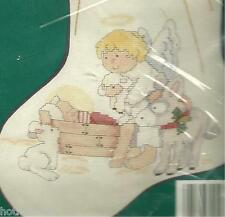 NEEDLE TREASURES, THE CHRISTMAS STORY,CROSS STITCH STOCKING KIT MPN 02824