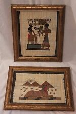 PAIR! Framed Egyptian Themed Art Papyrus Painting Sphinx Pyramids Pharoah Queen