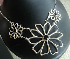 Attractive LARGE Silver Onyx Floral Necklace / Pendant + Chain & Extender c.1970
