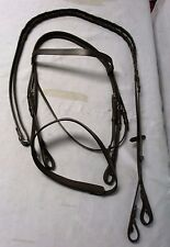 KF German Leather Bridle With Flat/Hunting Nose band with Laced Reins Brown-Full