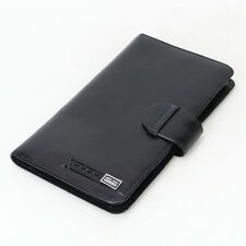 Genuine Leather Credit Card Holder long wallet Men travel passport cover black