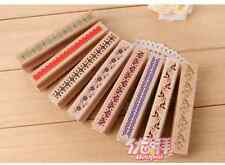 Lot 4pcs wooden rubber border mounted stamp cute lace craft wedding favor deco