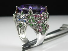 Amethyst Tsavorite Ruby Sapphire Ring 14K White Gold Signed Andy G $4500