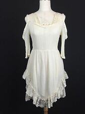 Vtg Victorian Lace Gauze Slip Courtney Love Babydoll Dress Top grunge boho goth
