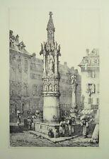 Basel Bale Fischmarkt Brunnen  Schweiz seltene alte Lithographie 1840