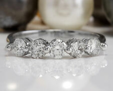 .95 CTW Natural VS1 G-H DIAMONDS in 14K Solid White Gold Women Engagement Ring