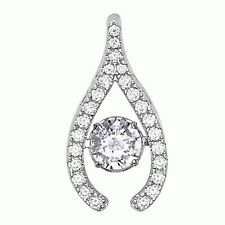 .925 Sterling Silver Dancing CZ Horseshoe Pendant Pear Shape Necklace