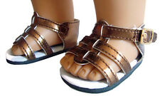 "Metallic Copper Gladiator Sandals Shoes for 18"" American Girl Doll Clothes"