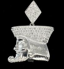Bling Silver Finish Kings Head Prong Set CZ Pendant Hip Hop Charm in Brass
