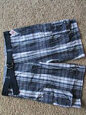 NEW ECKO BLUE PLAID CARGO SHORTS MENS 32 LONG LENGTH KINGSIDE SHORT FREE SHIP