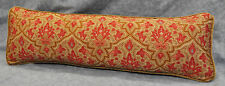 Pillow made with Ralph Lauren Diplomat Langham Red & Camel Fabric 24x8 / w/ cord