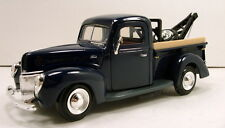 "MotorMax Tow Pickup Truck 1940 Ford 1:24 scale 8"" diecast model car Blue M49"
