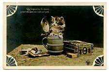 vintage cat postcard real photo adorable kitten in beer stein box cigars pipes