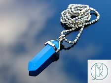 Blue Jade Crystal Point Pendant Natural Dyed Gemstone Necklace Healing Stone