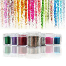 12 Colours Glitter Dust Powder Set For Nail Art Tips Decoration Crafts DIY New