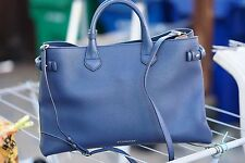 NEW $1795 Burberry LARGE Banner House Check Leather Tote Bag INK BLUE Purse Bag