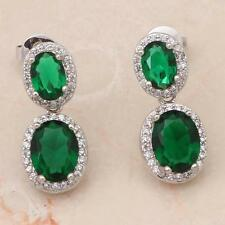 STUNNING 14K WHITE GOLD FILLED GREEN CRYSTAL/CZ STUD Earrings 22X9mm