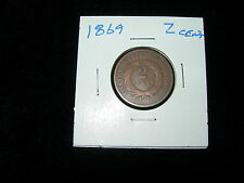 1869 Shield 2 Two Cent Copper Antique Vintage Coin XF+ Penny Shield