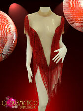 CHARISMATICO Cher inspired Nude Illusion red seed bead fringe Latin Dress