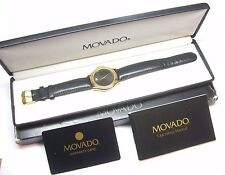 MENS GOLD PLATED MOVADO BLACK DIAL MUSEUM SWISS STRAP WATCH  87-D1-863 SAPPHIRE