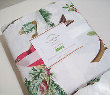 Pottery Barn Winter Fauna Cardinal Sparrow Birds King Duvet Cover New