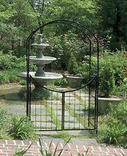 Steel Arch Arbor With Gate Archway Gateway Garden Patio Yard Wedding 8 Feet Tall