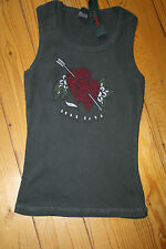 Hank made in Hollywood black cotton vest Tshirt True Love size Large crystals