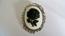 Stunning Black & White Rose Cameo Brooch Wedding Pin Pagan Gothic Handmade