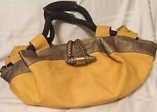 YELLOW Barrel-Duffel Handbag/Purse with Gold/Bronze Trim. Faux Leather.