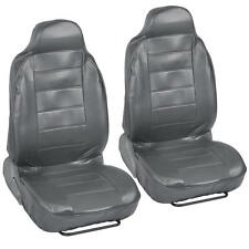 Gray PU Leather Bucket Seat Covers - Grey Leatherette 2pc Front Pair Highback