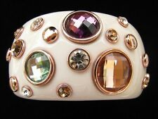 GORGEOUS CREAM LUCITE RESIN WIDE CUFF BRACELET BEZEL CRYSTALS PLATED