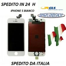 LCD DISPLAY RETINA  PER IPHONE 5 5G BIANCO SCHERMO+VETRO TOUCH SCREEN FRAME