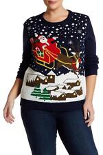 NWT Ugly Christmas Sweater Santa Reindeer Light Up LED Plus Size 2X Super Cute!